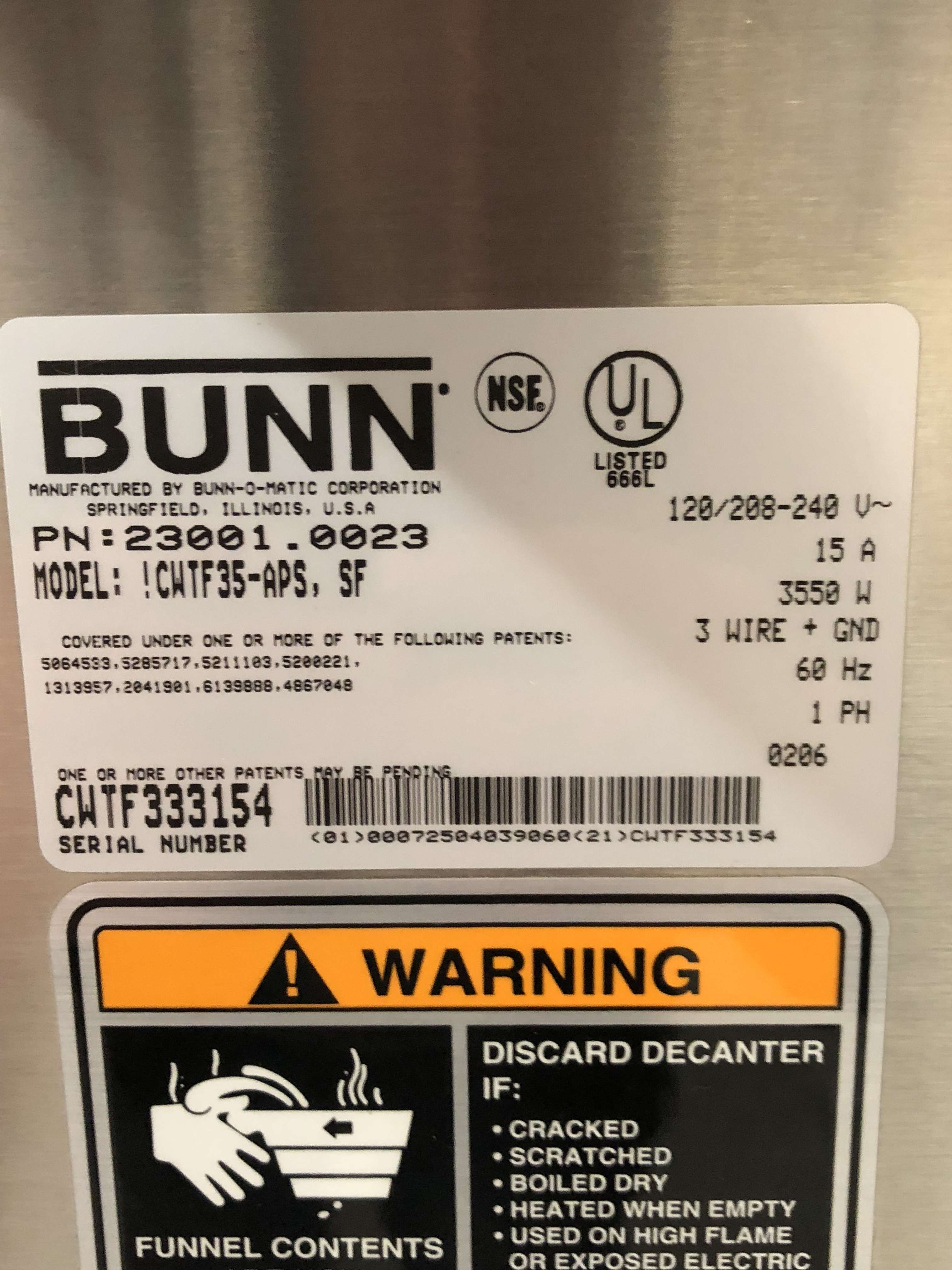 Pre Owned Bunn Cwtf35 Aps Air Pot Brewer March Quality Used And Cw Series Wire Diagram