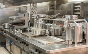 Stainless steel cooking equipment at a restaurant in Chicago, Illinois